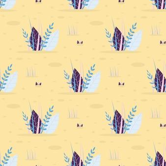 Abstracte bladeren gras vector naadloze plat patroon