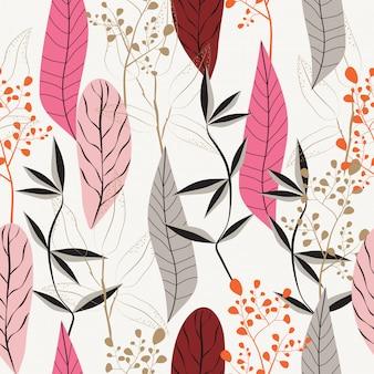 Abstracte bladeren naadloze patroonachtergrond