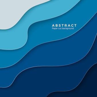 Abstracte blauwe achtergrond met papier gesneden vormen. lay-out voor zakelijke en elementenposters. kleurrijk snijwerk. papier frame achtergrond. illustratie