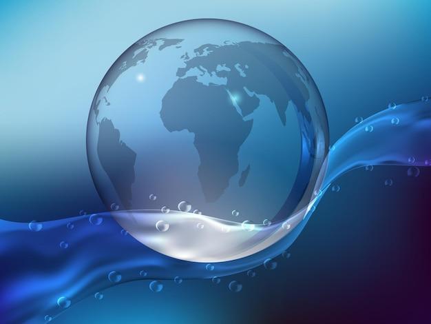 Abstracte blauwe achtergrond, splash van kristalhelder water met druppels. planeet aarde gemaakt van glas in de oceaan. realistische stijl. vector illustratie.