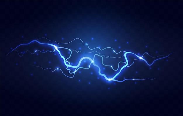 Abstracte blauwe bliksem op zwarte achtergrond. blitz bliksem donder licht vonken storm flits onweer. vermogen energie opladen donder schok