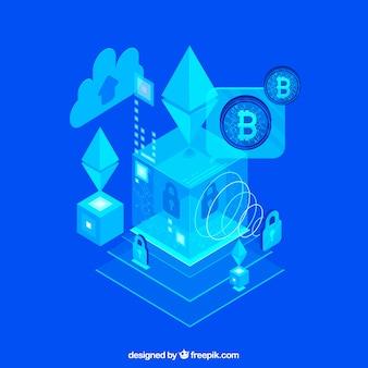 Abstracte blauwe blockchainachtergrond