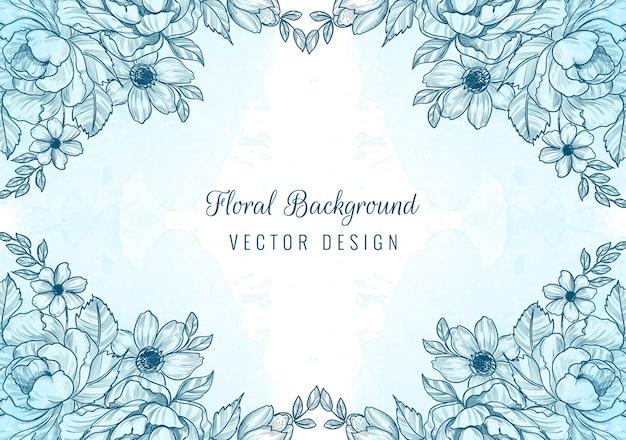 Abstracte blauwe bloemen tekenen en schetsen achtergrond