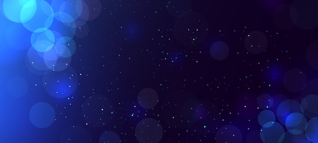 Abstracte blauwe bokehachtergrond met cirkels.