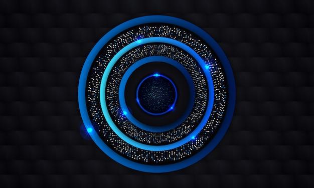 Abstracte blauwe cirkel met gloed donkere zwarte achtergrond