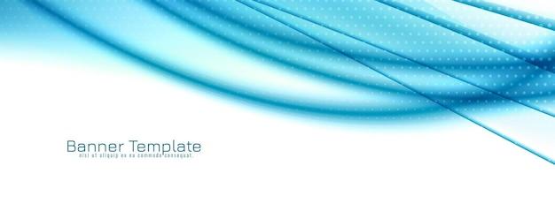 Abstracte blauwe de bannerachtergrond van het golfontwerp