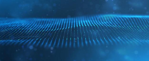 Abstracte blauwe deeltjesachtergrond stroomgolf met stiplandschap