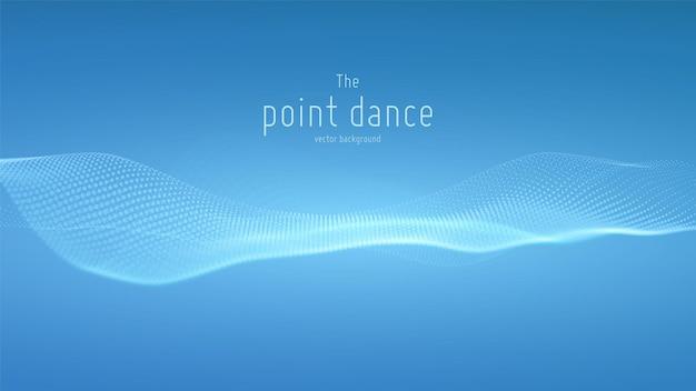 Abstracte blauwe deeltjesgolf, puntenreeksachtergrond