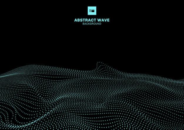 Abstracte blauwe dynamische golf zwarte achtergrond
