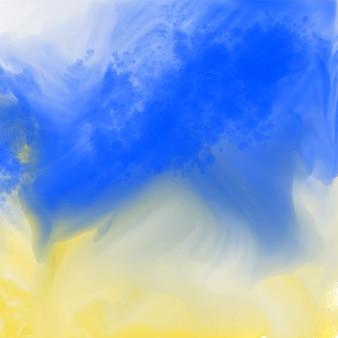 Abstracte blauwe en gele waterverftextuur
