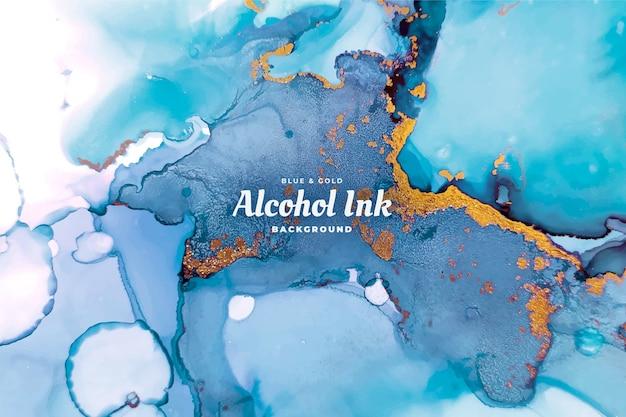 Abstracte blauwe en gouden alcohol inkt achtergrond