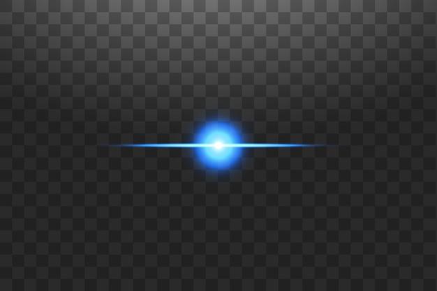 Abstracte blauwe en gouden lichtlijnen op transparante illustratie als achtergrond. gemakkelijk te vervangen door elke afbeelding. een felle lichtflits op de lijn.