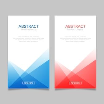 Abstracte blauwe en rode bannermalplaatjes