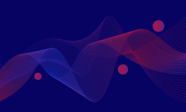 Abstracte blauwe en rode gradiënt golvende lijnen met cirkel op blauwe achtergrond. ontwerp voor affiche.