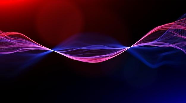 Abstracte blauwe en rode lijnen achtergrond stroom dynamische golf magische vectorillustratie