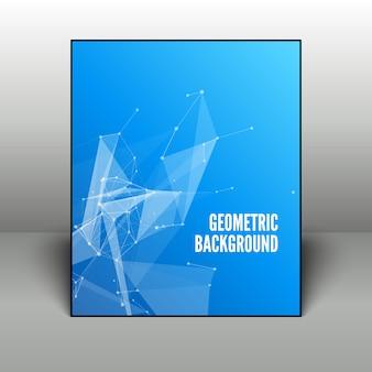 Abstracte blauwe geometrische achtergrond in zwart frame
