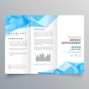 Abstracte blauwe geometrische triplet brochure ontwerp sjabloon