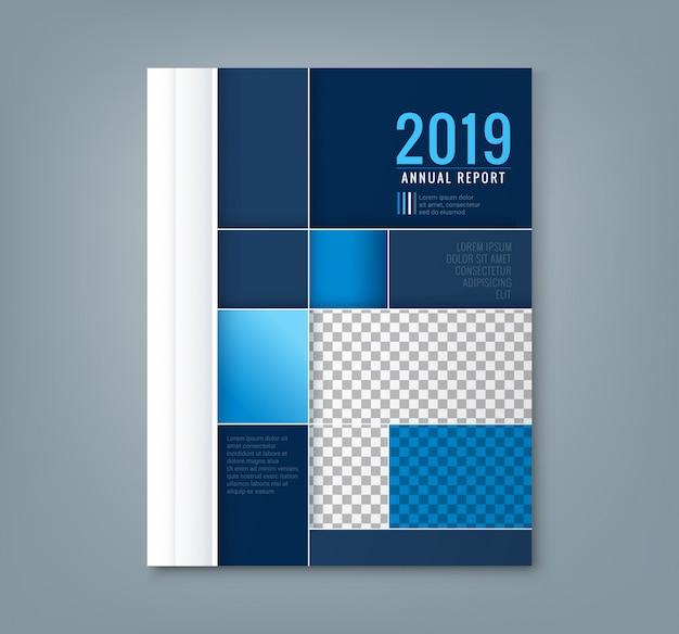 Abstracte blauwe geometrische vierkante vorm ontwerp achtergrond sjabloon voor het bedrijfsleven jaarverslag boekomslag brochure flyer poster