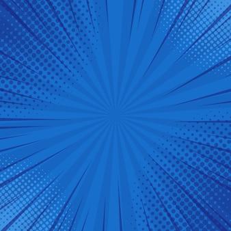 Abstracte blauwe gestreepte retro grappige achtergrond met halftone hoeken.