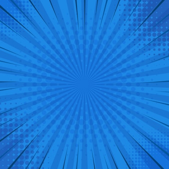 Abstracte blauwe gestreepte retro komische achtergrond met halftone hoeken. cartoon stripfiguren. illustratie.
