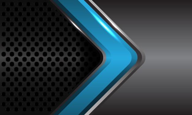 Abstracte blauwe glanzende pijl richting op grijs metallic met cirkel mesh patroon ontwerp moderne futuristische technologie luxe achtergrond.