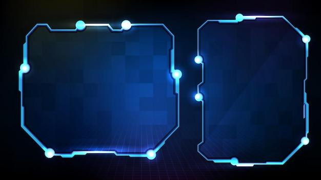 Abstracte blauwe gloeiende sci fi frame hud