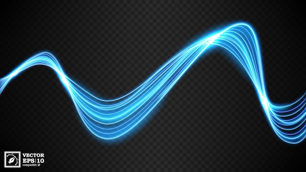 Abstracte blauwe golvende lijn van licht