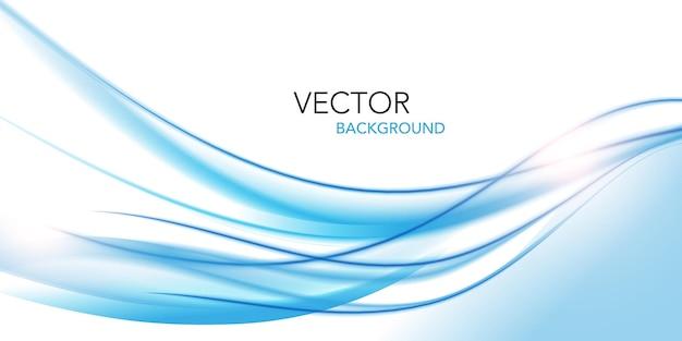 Abstracte blauwe golvende met vage lichte swirl lijnen achtergrond