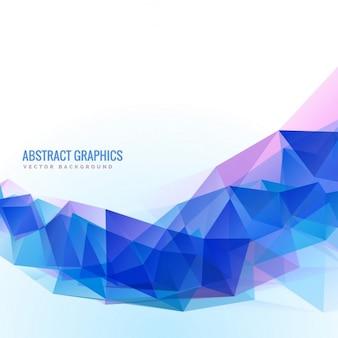 Abstracte blauwe golvende vorm gemaakt met driehoeken