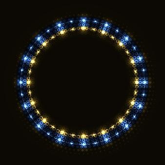 Abstracte blauwe gouden ring