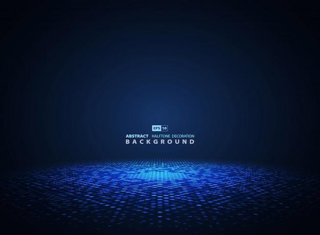 Abstracte blauwe halftone cirkel futuristische achtergrond.