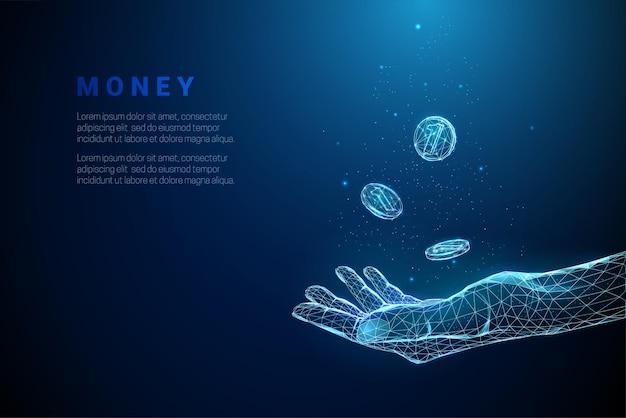 Abstracte blauwe hand geven met vliegende munten low poly-stijl