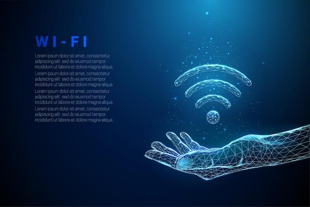 Abstracte blauwe hand geven met wi-fi symbool. gratis internettoegangsconcept. ontwerp in lage polystijl. moderne 3d grafische geometrische achtergrond.