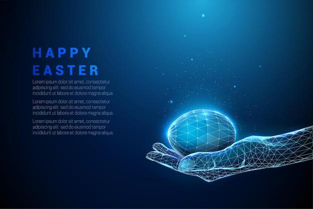 Abstracte blauwe hand met paasei geven