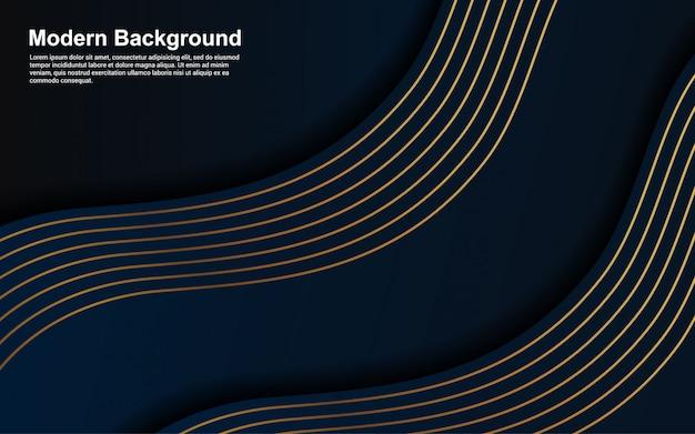 Abstracte blauwe kleur als achtergrond en gouden lijn modern ontwerp