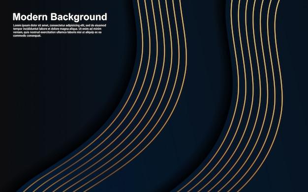 Abstracte blauwe kleur als achtergrond en het gouden ontwerp van het lijn moderne ontwerp