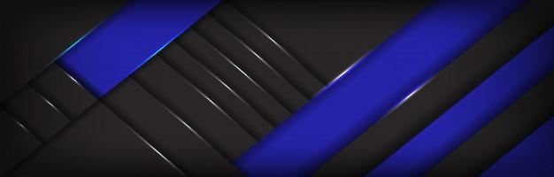 Abstracte blauwe label overlappen donkergrijze metalen achtergrond