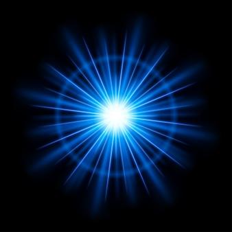 Abstracte blauwe lens flare licht burst of zon met stralen vector