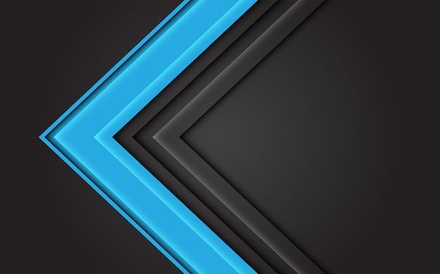 Abstracte blauwe lichte pijlrichting op donkergrijze moderne futuristische achtergrond.