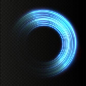 Abstracte blauwe lichtlijnen wervelend in spiralen lichtbeweging simulatielijnen lichtspoor van
