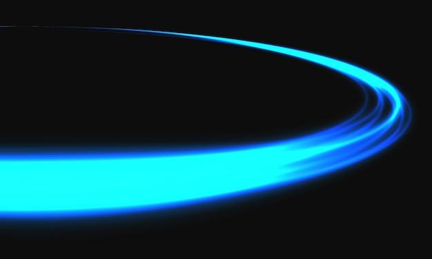 Abstracte blauwe lichtsnelheid dynamische curve op zwarte achtergrond technologie vectorillustratie.