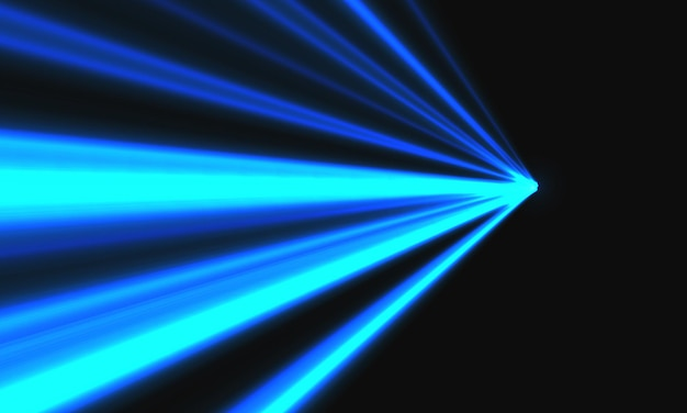 Abstracte blauwe lichtsnelheid dynamische zoom op zwarte achtergrond technologie vectorillustratie.