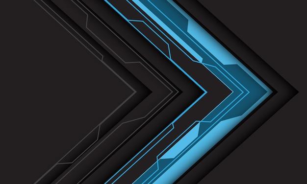 Abstracte blauwe lijn circuit cyber pijl richting schaduw op donkergrijs met lege ruimte moderne technologie futuristische achtergrond