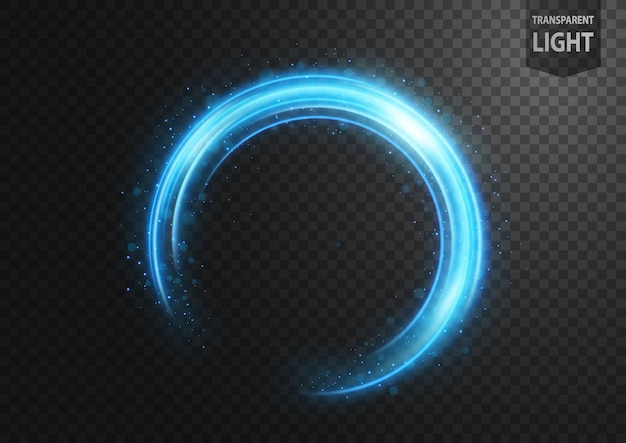 Abstracte blauwe lijn van licht met blauwe vonken