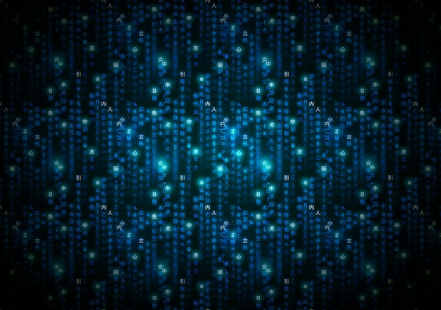 Abstracte blauwe matrijssymbolen, digitale binaire code op donkere, technische achtergrond