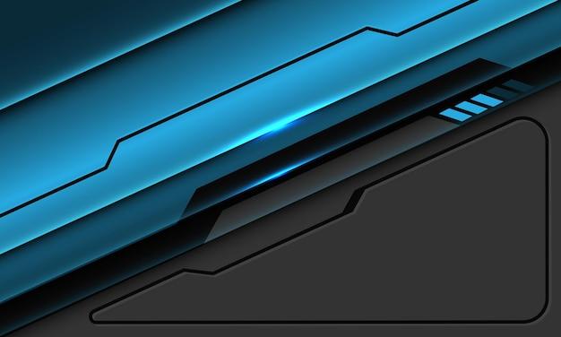 Abstracte blauwe metallic zwarte lijn circuit cyber geometrische op grijs met lege ruimte moderne futuristische technische achtergrond