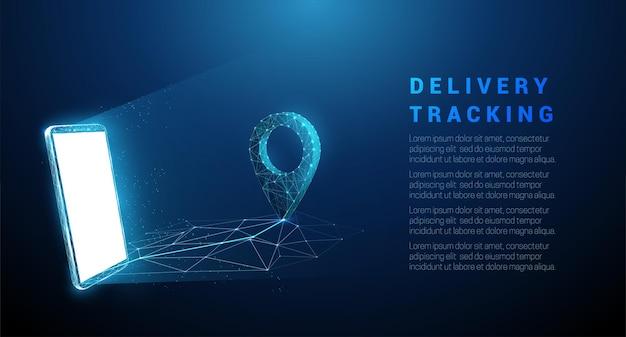 Abstracte blauwe mobiele telefoon met speldpictogram. levering tracking concept. laag poly-stijl ontwerp.