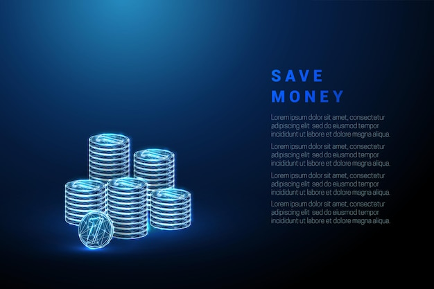 Abstracte blauwe munten stapels geld besparen concept laag poly stijl wireframe vectorillustratie