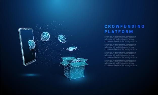 Abstracte blauwe munten vliegen van smartphone in doos crowdfunding laag poly stijl draadframe vector