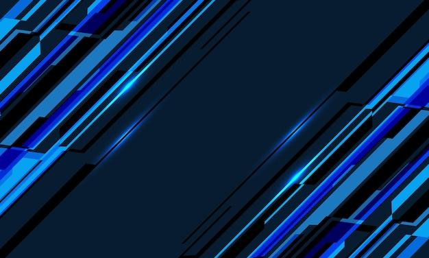 Abstracte blauwe neon cyber geometrische dynamische technologie op zwart ontwerp moderne futuristische achtergrond